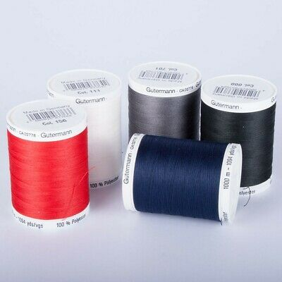 GUTERMANN SEW ALL 100% POLYESTER THREAD 1000M-HAND& MACHINE SEWING - Various Col