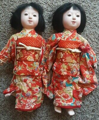 Antique Japanese Ischimatsu Doll Set Of 2 16in