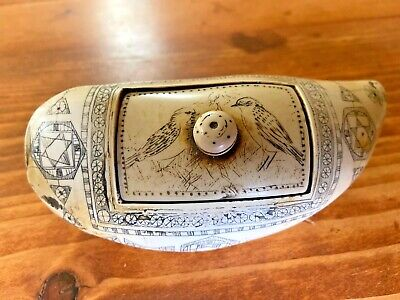 Antique Style SCRIMSHAW WHALES TOOTH  BOX -Replica Faux Resin-Great Patina