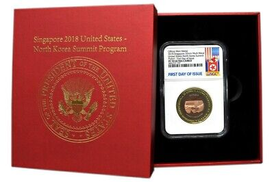 Singapore 2018 United States NK Summit Commem Donald Trump Kim CN Quad Metal N70