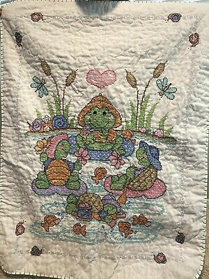 Handmade Baby Boy / Girl Quilt Pond Pals FINISHED Shower Gift Turtles Frogs