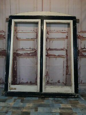 Antique Vintage Georgian Style Large Reclaimed Wooden Double Window Frame