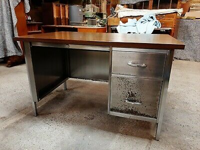 Vintage Industrial Metal Desk Stripped And Polished Great Looking Piece.