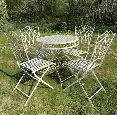 Table & 4 Chairs Garden Furniture Set - White - Wrought Iron - RRP £350 Outdoor