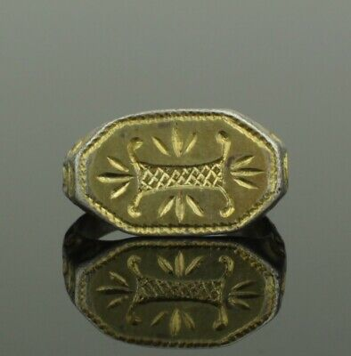 """Beautiful Ancient Medieval Silver Gilt Ring Letter """" I """" - Circa 15Th C Ad"""