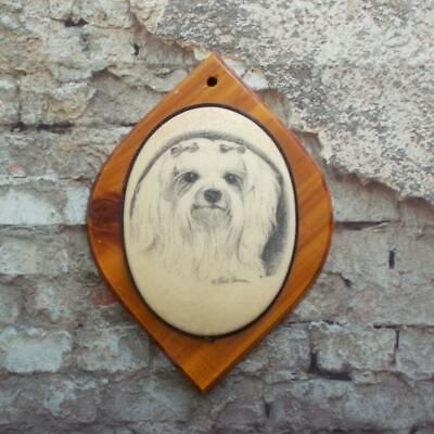 Earl Sherman Maltese Dog Sugared Wood Plaque Vintage