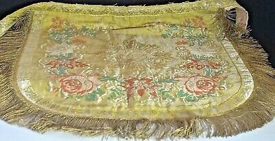 Antique French Vestment Piece Metallic Silk Brocade & Trims VV411