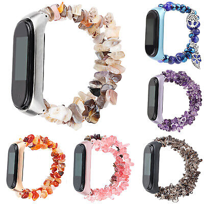 Glitter Natural Gemstone Watch Strap Protect Case for Xiaomi Mi Band 4 Miband 3