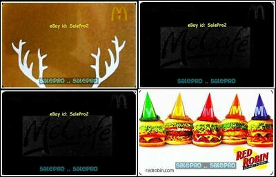 4x RED ROBIN McDONALD 2017 BLACK McCAFE GOLD CHRISTMAS COLLECTIBLE GIFT CARD LOT