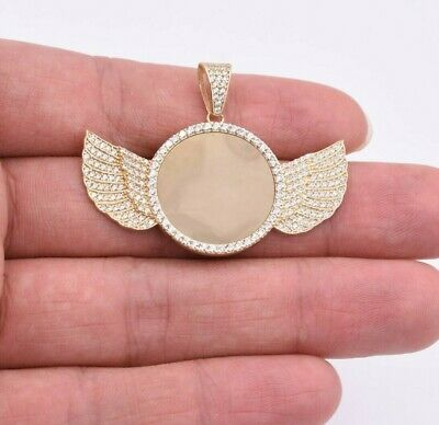 """1 3/8"""" Angel Wings Picture Frame Memory CZ Pendant Real SOLID 10K Yellow Gold"""