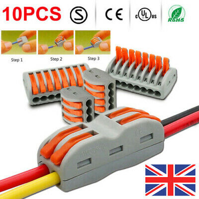 Spring Lever Terminal Block Electric Cable Wire Connector PCT212Clip Adapter UK