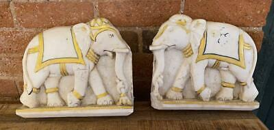 Pair of 19th Century Antique Carved Marble Wall Frieze - Elephants - Indian