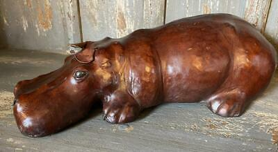 Small Laying Sleeping Hippo - Hand Made - Covered in genuine Leather