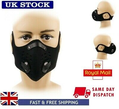 UK STOCK Face Mask Anti Pollution Carbon Filter Cycling Running
