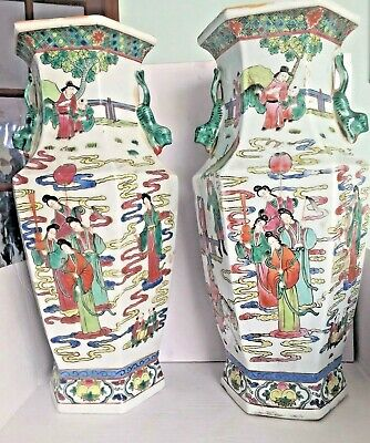 Huge Pair Of Antique Chinese Famille Rose Porcelain Flower Vases Hand Painted