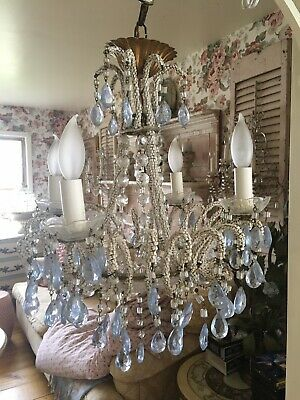 Lovely Antique / Vintage Beaded Italian Chandelier Florentine Tole Chic
