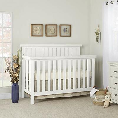 Sweetpea Baby Red Wood 4 in 1 Convertible Crib in Weathered White