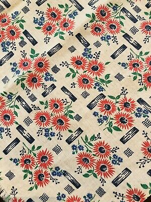 vintage cotton fabric feedsack red white blue floral deco