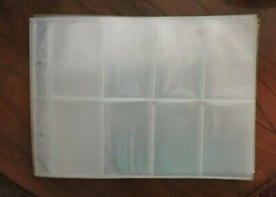 50 X 8 Pocket Plastic Album Pages/Sleeves For 2 Ring Glen Collectors Albums