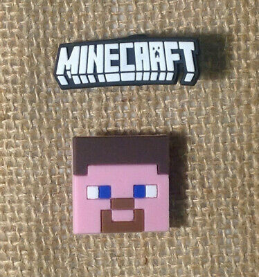 Minecraft Steve & Logo Jibbitz Crocs Shoe Bracelet Wristband Charm Set of 2