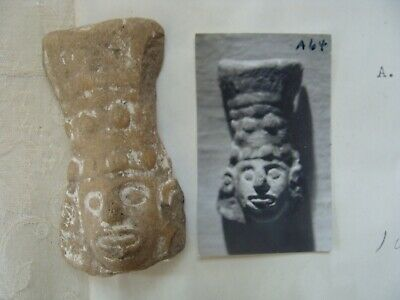 Pre Columbian Authentic Artifact Pottery Mexico Face Aztec Eecahtl fragment