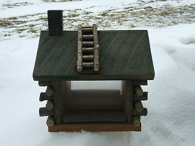 Outdoor Log Cabin Wood Bird Feeder Forest Time Products Minnesota Seed House