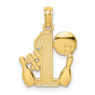 14k Yellow Gold #1 Bowling Story with Ball and 2 Pins Pendant