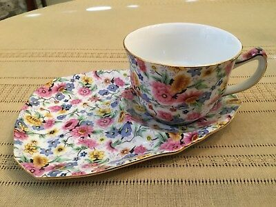 Chintz Jennifer Two's Company Snack Set Cup With Plate Floral Pattern