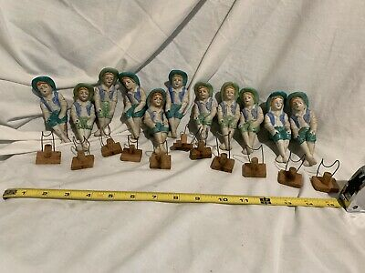 11  Fish Bowl Vintage / antique Ceramic  Setting Figurines With Wood Ho