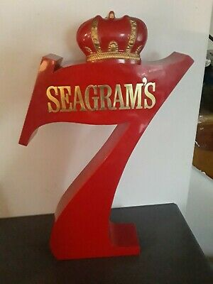 Rare Vintage Seagram's Seven Whiskey Big  7 with Crown Sign 23 inch high Mn Cave