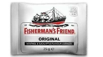 24 X 25g PACKETS FISHERMEN'S FRIEND ORIGINAL MENTHOL EUCALYPTUS LOZENGES👍😎