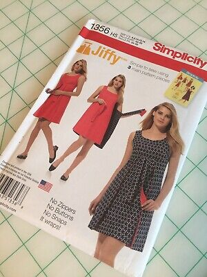 Sizes 6-14 Simplicity 1356 Easy to Sew Womens Reversible Wrap Dress Sewing Pattern