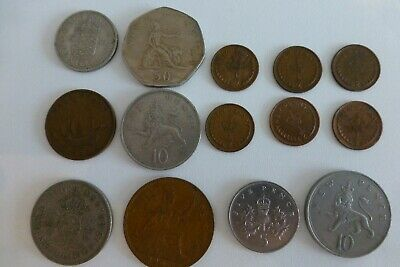 British Coinage Collectables Half Penny, Shillings, Old 50P 10P 5P - 14 Coins