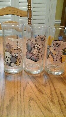 3 ET Pizza Hut Glasses from 1982