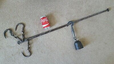Vintage Antique Large Wrought Iron Steelyard Butcher Farm Hanging Balance Scales