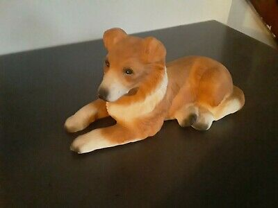 Collie dog ceramic  figurine 9 inches long gorgeous