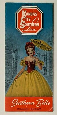 "1952 Kansas City Southern Lines Timetable railroad ""Southern Belle"" brochure RR"