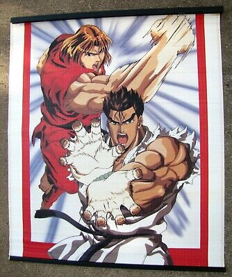 "Anime Japanese Fighting Wall Scroll Large 42"" Collectible Ken & Rwu"