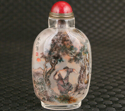 Rare chinese old glass hand painting Water Margin Wu song snuff bottle