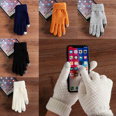 Winter warm thicken mittens knitted wool full finger touch screen Women gloves