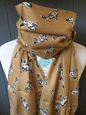 Offer Peony Happy Hares Oatmeal Gold  Rabbit Scarf - Hare Rabbits Animal