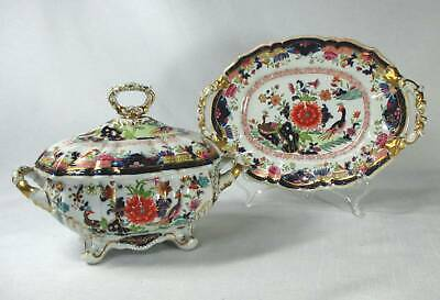Staffordshire Transferware Exotic Birds Chinoiserie Sauce Tureen & Undertray