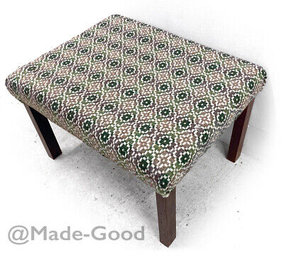 1960s retro vintage LARGE DANISH ROSEWOOD WOOL WELSH TAPESTRY FOOT STOOL OTTOMAN