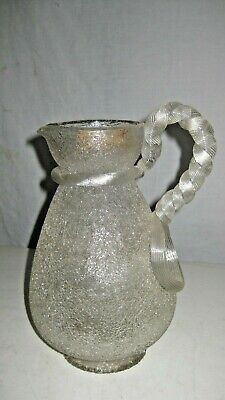 ANTIQUE SANDWICH GLASS Co. PITCHER w. ICE REPOSITORY & ROPE HANDLE