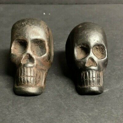 Antique Skull Shaped Opium Weights Set Of 2 Heavy!
