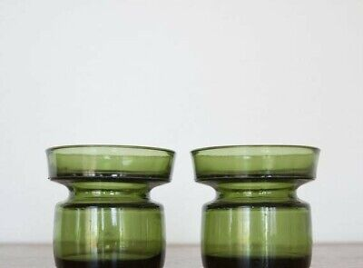 Pair Vintage Dansk Design Green Art Gass Candle Holder VGC collectible Gift Home