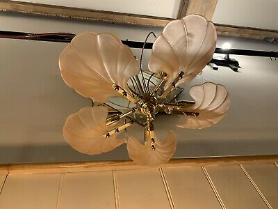 Murano Frosted Glass Shells, Gold Plated Flush Chandelier, Light Retro, Vintage
