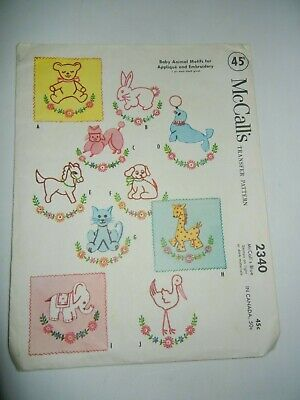 Vintage 1959  McCall's Transfer Pattern 2340 Baby Animal Motifs For Embroidery