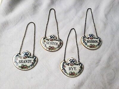 Vintage Liquor Tags Labels Matching Lot Brandy Scotch Rye Bourbon Staffordshire