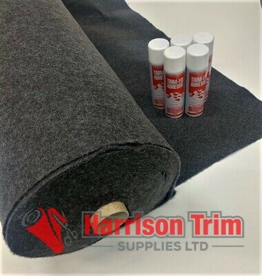 6 sqm EASYLINER ANTHRACITE (4 WAY STRETCH) CAMPA VAN LINING CARPET + 3 TRIMFIX